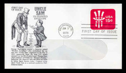 U.S. Scott #U581 15c Uncle Sam Hat WINDOW Envelope First Day Cover.  Aristocrat cachet.