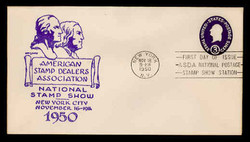 U.S. Scott #U534 3c George Washington Envelope First Day Cover.  Day Lowry Aristocrat cachet.  Rubber Stamp.