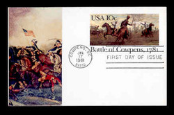 U.S. Scott #UX 87 10c Battle of Cowpens Postal Card First Day Cover.  Sarzin Quadrocolorplus cachet.