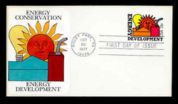 U.S. Scott #U585 13c Energy Development Envelope First Day Cover.  Sarzin Quadrocolorplus cachet.