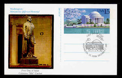 U.S. Scott #UX144 15c Jefferson Memorial Postal Card First Day Cover.  Colorano cachet.