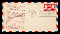 U.S. Scott #UC18 6c Skymaster Air Mail Envelope First Day Cover.  Day Lowry Aristocrat cachet.  Rubber Stamp, Violet.
