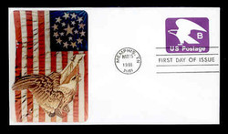 "U.S. Scott #U592 (18c) ""B"" Eagle Envelope First Day Cover.  Sarzin Quadrocolorplus  cachet."