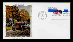 U.S. Scott #U587 13c Auto Racing Envelope First Day Cover.  Colorrano cachet.