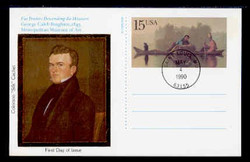 U.S. Scott #UX147 15c George Caleb Bingham Postal Card First Day Cover.  Colorano cachet.