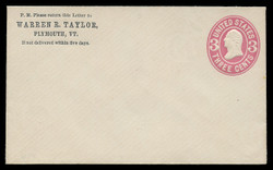 U.S. Scott # U  58/02, UPSS #123/01 1864-5 3c Washington, pink on white - Mint (See Warranty)