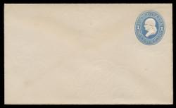 U.S. Scott # U 113/07, UPSS #264/07 1874-86 1c Franklin, Die 2,  light blue on white - Mint (See Warranty)
