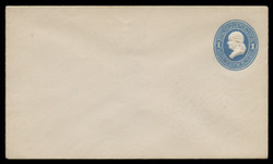 U.S. Scott # U 113/08, UPSS #265/07 1874-86 1c Franklin, Die 2,  light blue on white - Mint (See Warranty)