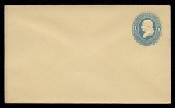 U.S. Scott # U 114/07, UPSS #271/06 1874-86 1c Franklin, Die 2,  light blue on amber - Mint (See Warranty)