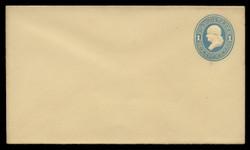 U.S. Scott # U 114/08, UPSS #272/07 1874-86 1c Franklin, Die 2,  light blue on amber - Mint (See Warranty)