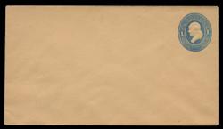 U.S. Scott # U 115/10, UPSS #275/05 1874-86 1c Franklin, Die 2,  light blue on cream - Mint (See Warranty)