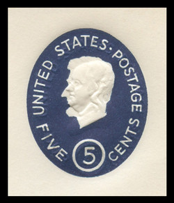 U.S. Scott # U 544c 1962 5c Lincoln, Die 2 with Albino Impression of 5c (U536) Error - Mint Cut Square