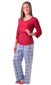 A Warm Night Nursing Flannel PJ Set