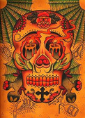 Brother Greg Day of the Dead Skull Tattoo Canvas