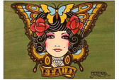 Beauty by Gustavo RimadaTattoo Art Print Butterfly Wall Hanging Home Decor