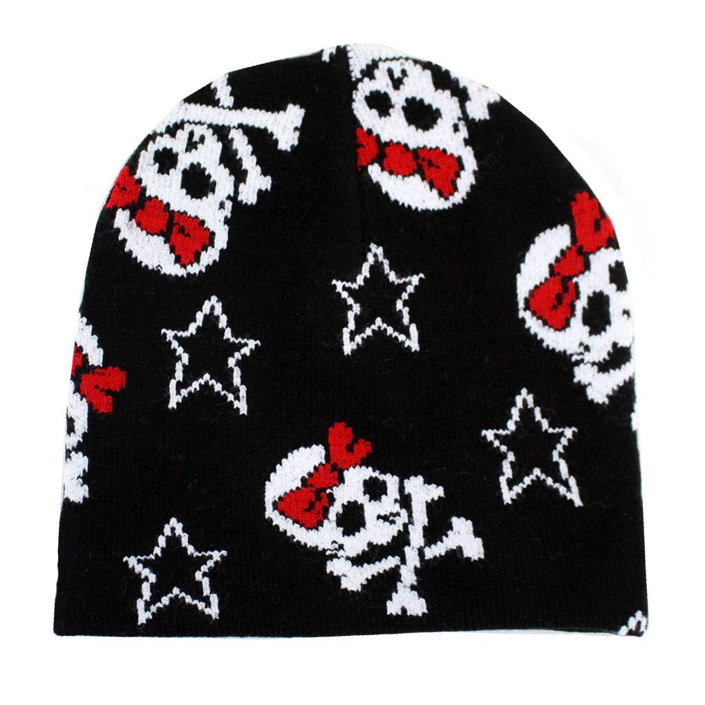 Black Beanie Skull   Crossbones with Red Bow Stars Knit Hat ... a39d11110e5
