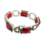 Red Cubic Zirconia and Marcasite silver bracelet.