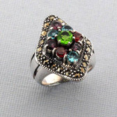 Amethyst Garnet Peridot Marcasite Sterling Silver Ring Cocktail Size 6.5 Jewelry