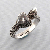 Pearl CZ Sterling Silver Ring Cocktail Ring Size 5 Rhodium Plated Bali Jewelry