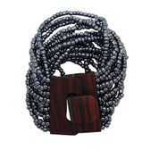 Pewter Bali Bracelet Glass Beads Wood Buckle Elastic Costume Jewelry