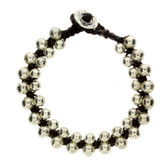 Round Silver Alloy Beaded Bracelet Wrist Jewelry Waxed Linen Wristband Brown