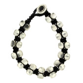 Oval Silver Alloy Beaded Bracelet Wrist Jewelry Waxed Linen Wristband Black
