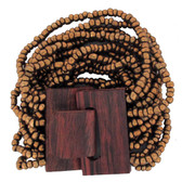 Bronze beaded wood stretch bracelet.