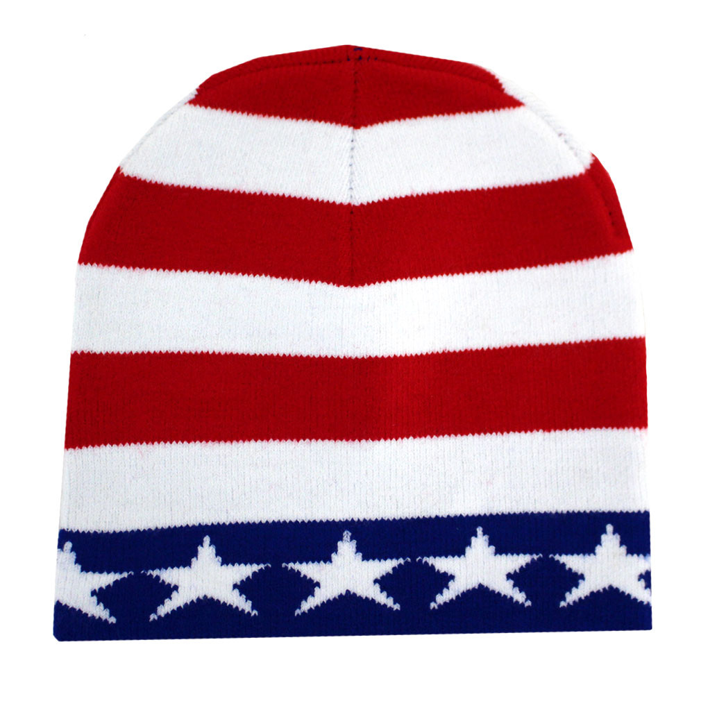 American Flag Beanie USA Red White   Blue Knit Hat - Purple Leopard ... d04e097b4dd