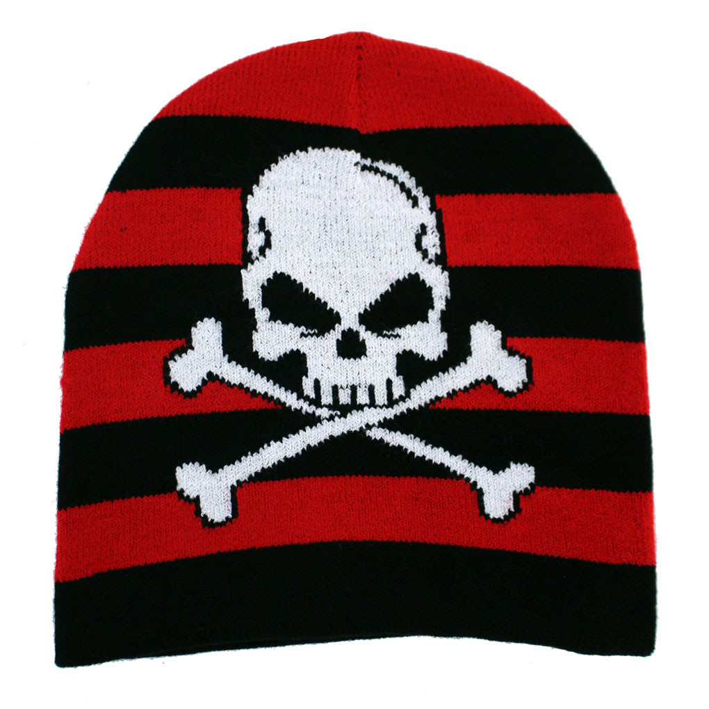 Skull   Crossbones Black Red Striped Beanie Knit Hat - Purple ... 2f2b6100072
