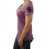 Mauve T Party V neck T-shirt with backside design.