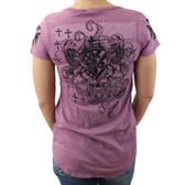 Mauve T Party V neck T-shirt with backside design.