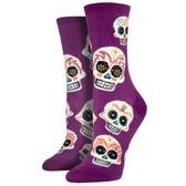 Women's Crew Socks Big Muertos Sugar Skulls Purple