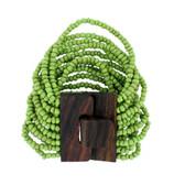 Green Bali Bracelet Glass Beads w/ Wood Buckle Elastic