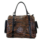 Tiger print duffle bag.