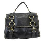 Charcoal black satchel.