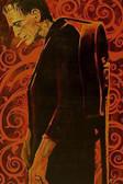 Man in Black by Mike Bell Tattoo Art Print  Monster Frankenstein w/ Guitar