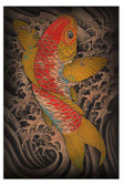 Koi by Clark North Tattoo Art Print Classic Japanese Style Fish and Waves
