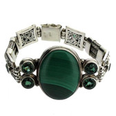 Malachite & Green Topaz Sterling Silver Bracelet Bali Design