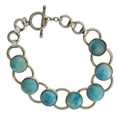 Blue Larimar Bracelet Sterling Silver w Toggle Clasp