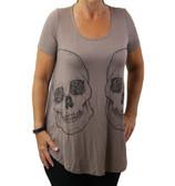 Taupe skull shirt.