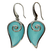 Aqua blue sterling silver earrings.
