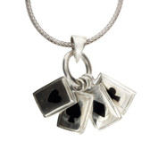 Gamblers Black Suits Cards Pendant Sterling Silver Necklace Jewelry
