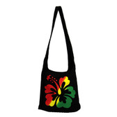 Bohemian Black Rasta Hibiscus Flower Purse Hobo Shoulder Bag Crossbody