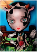 Cow Girl by Abril Andrade Fine Art Print Big Eye Character