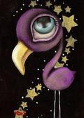 Purple Flamingo by Abril Andrade Fine Art Print Big Eye Character Bird