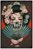Death Becomes Her by Amy Dowell Fine Art Print Skull Japanese Geisha Girl