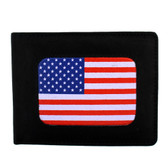 American Flag on outside of black bi-fold men's wallet.
