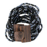 Black & Pewter Bali Bracelet Glass Beads w/ Wood Buckle Elastic