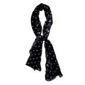 Black scarf with skulls and crossbones and crowns.