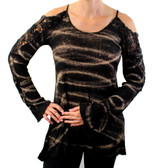 TParty black and tan striped dyed burnout lightweight cold shoulder sweater.